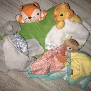 Baby boy Security blanket bundle 4 Blankets